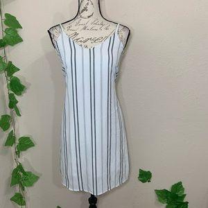 Japna White Gray Striped Classy Casual Dress